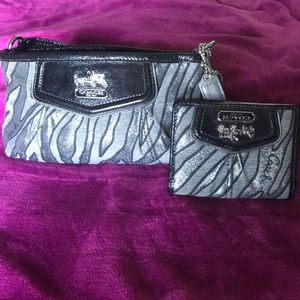 Authentic zebra print Coach purse and wallet